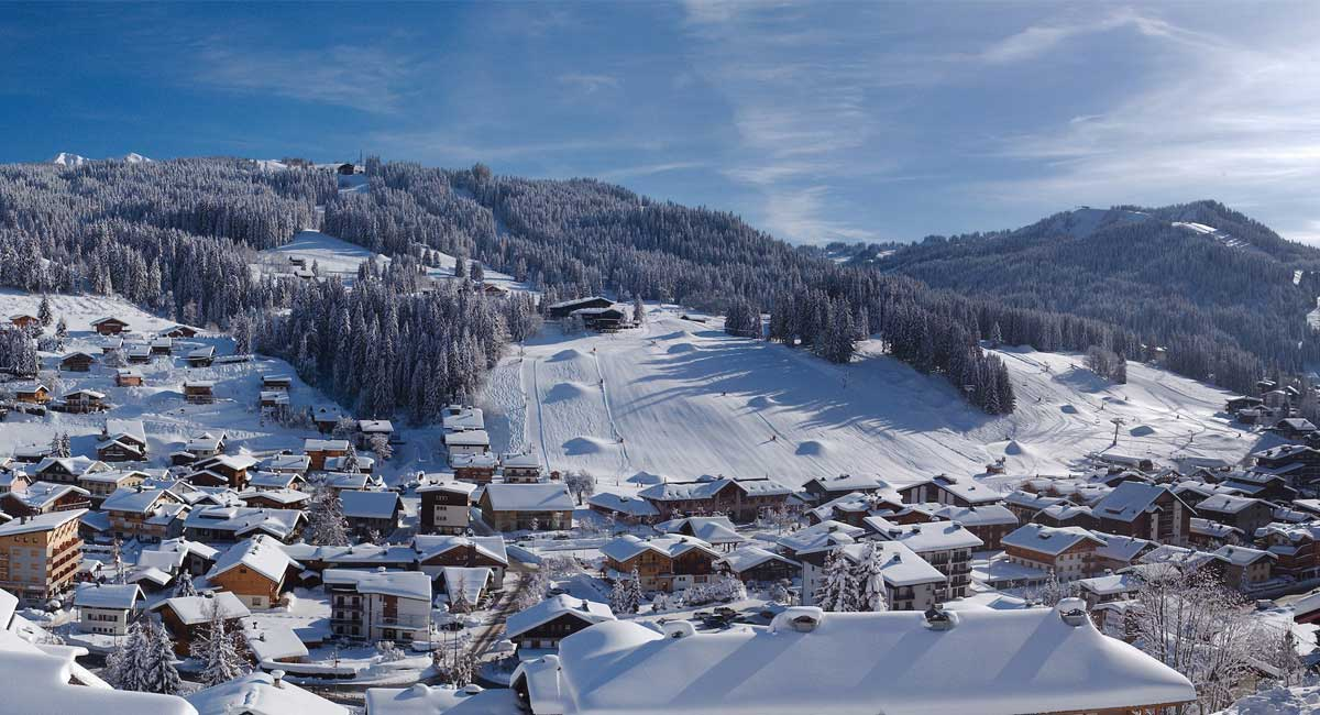 French Alps ski resort les gets in snow