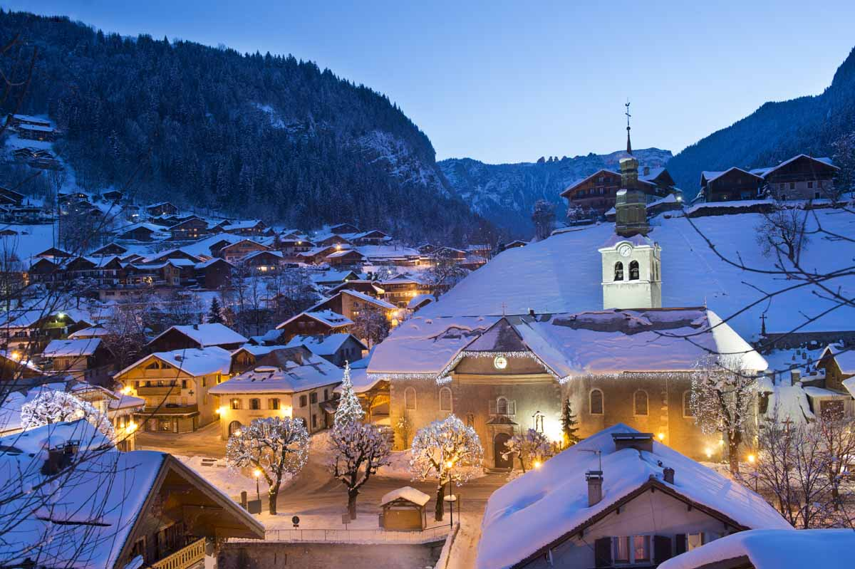 Morzine church at night