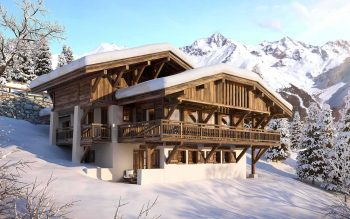 Snow covered chalet alps