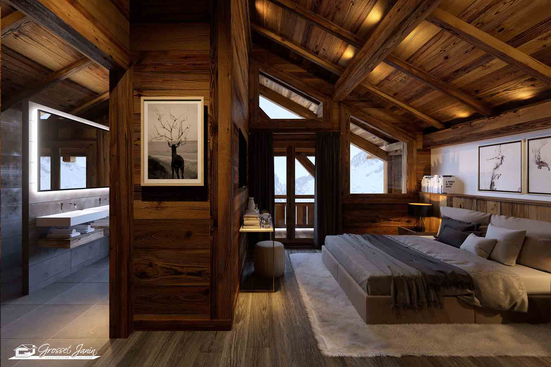 Wood styled alpine bedroom