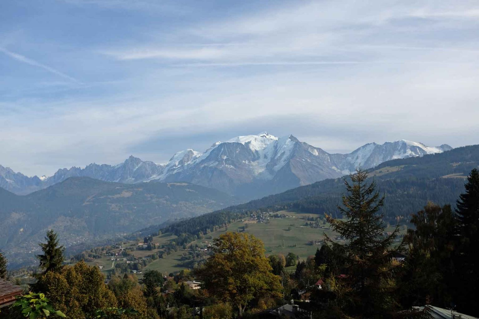 Stunning view of Mont Blanc from land