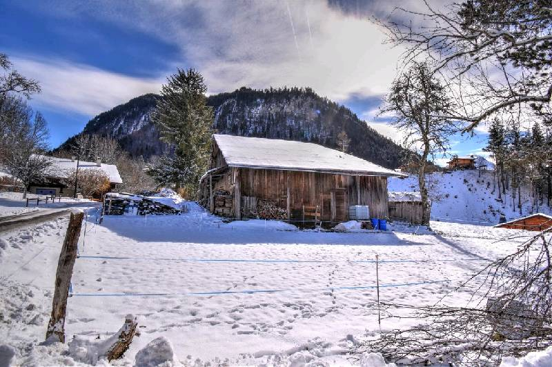 Montriond Farm in snow