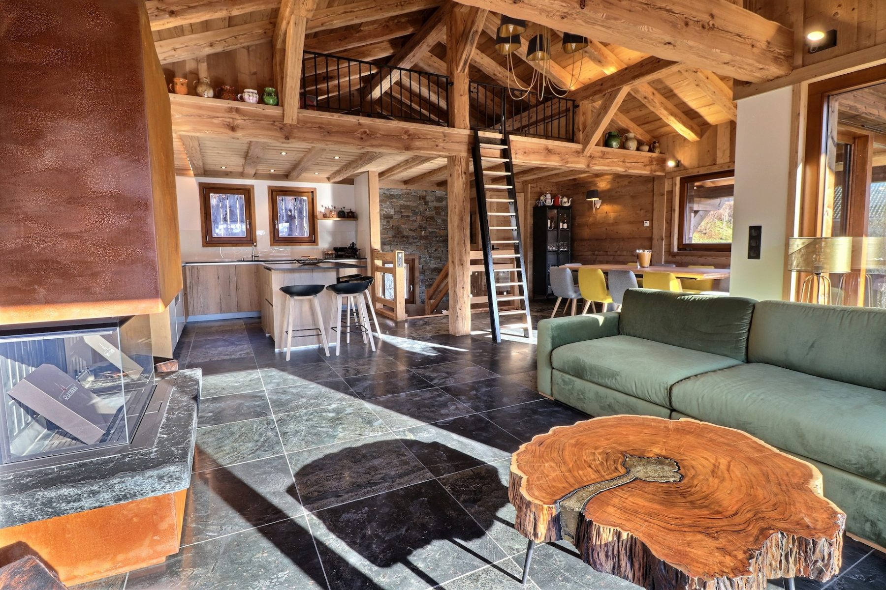 wooden lounge area in a chalet