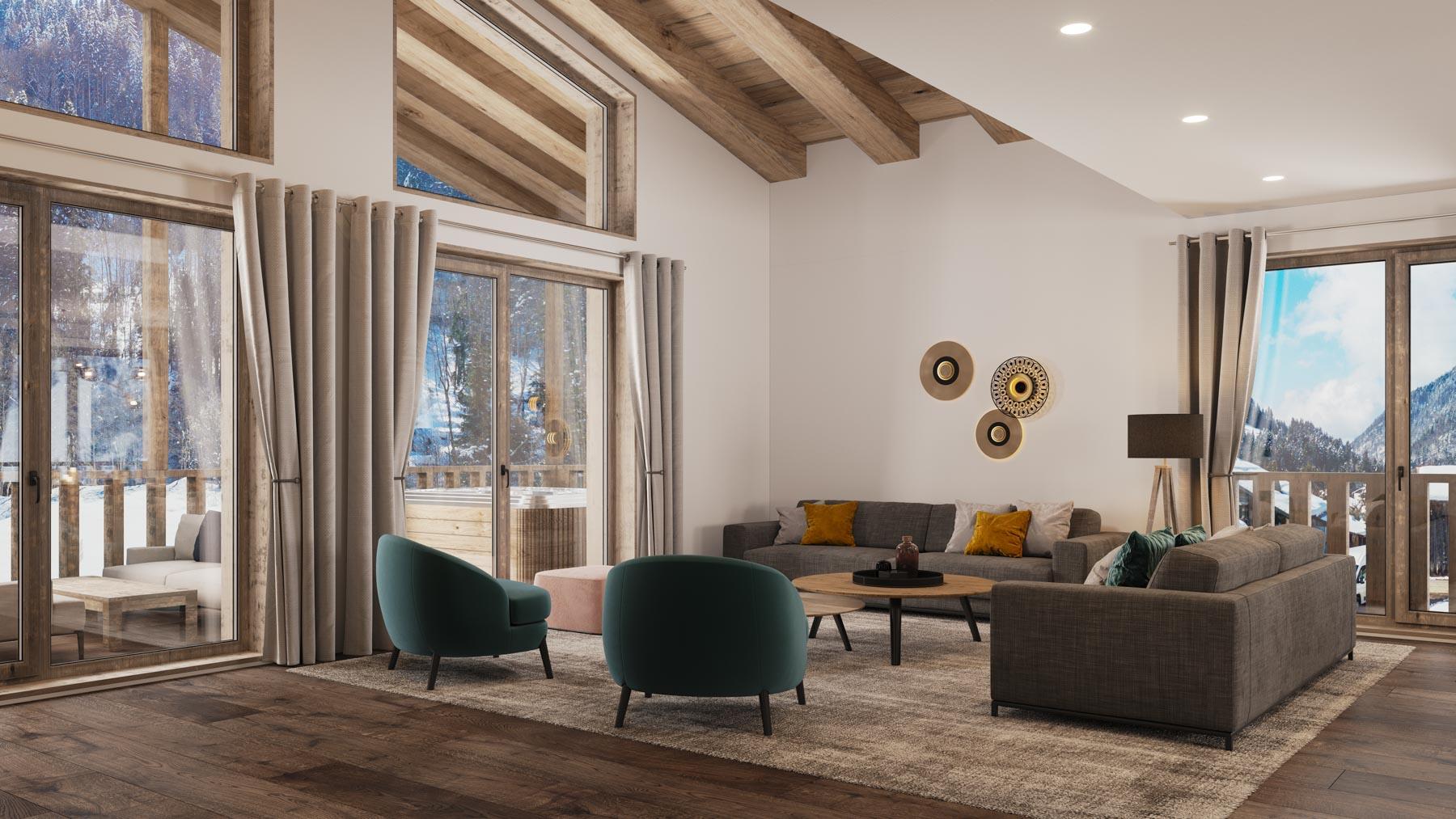 Kamet New Build Chalets Example Lounge