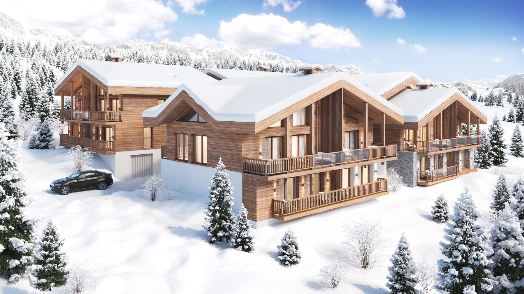 Kamet New Build Chalets Exterior in snow