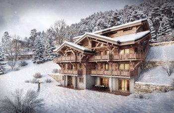 Les Sources chalet in winter